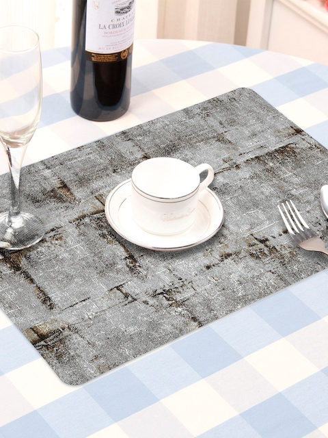 OBSESSIONS Set Of 6 Grey Textured Table Mats