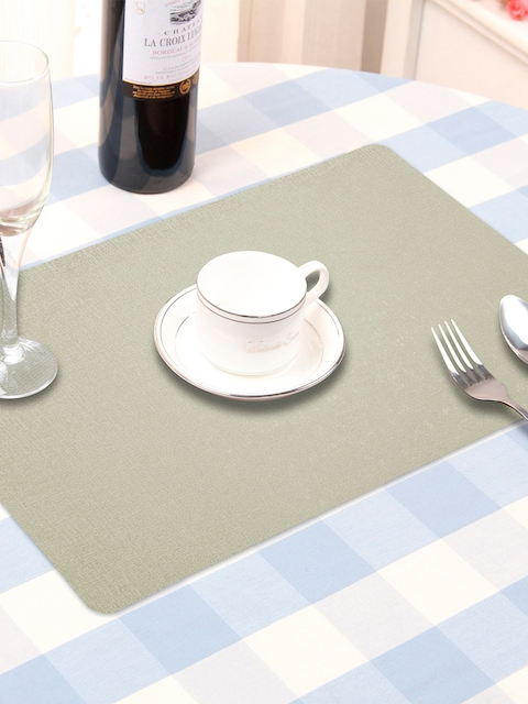 OBSESSIONS Set Of 6 Grey Solid Table Mats