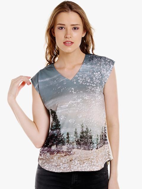 SPYKAR Women Multicoloured Printed V-Neck T-shirt