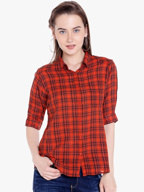 SPYKAR Women Orange & Black Regular Fit Checked Casual Shirt