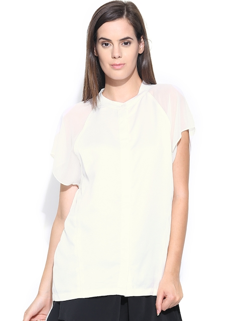 United Colors of Benetton Women Off-White Casual Shirt