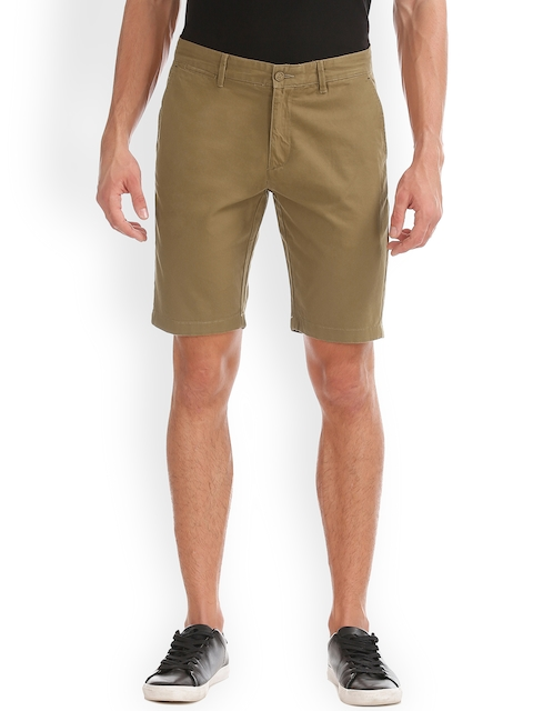 IZOD Men Brown Solid Slim Fit Chino Shorts