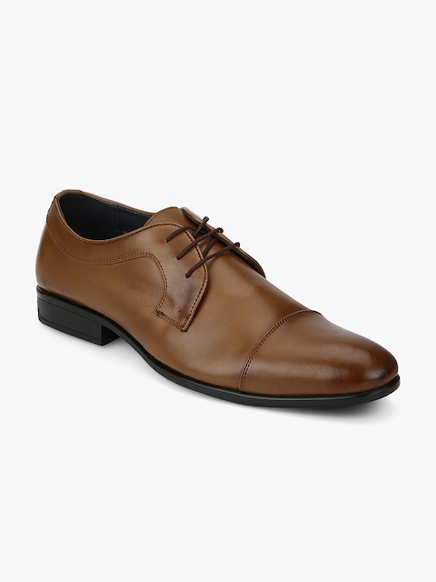 Egoss Men Tan Brown Leather Formal Derbys