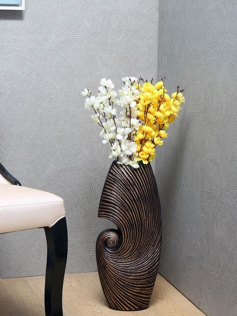 Athome by Nilkamal Abstract Swirl Brown Ceramic Vase