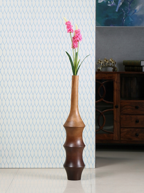 Athome by Nilkamal Brown Ripple Shaped Wooden Vase