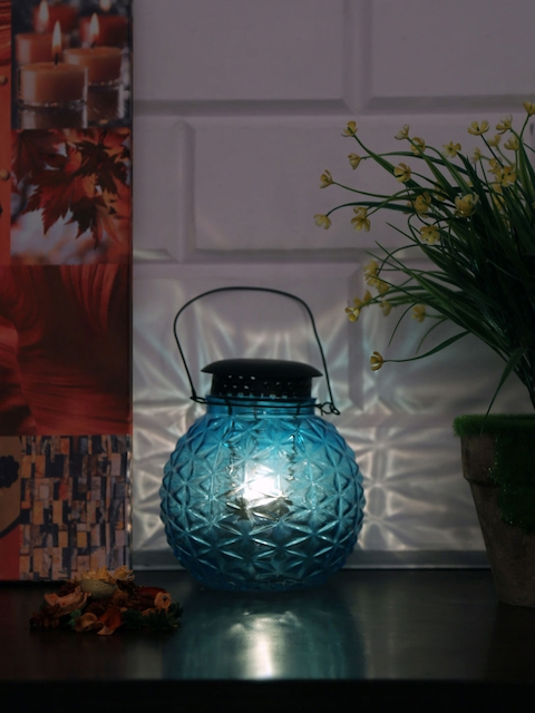 Athome by Nilkamal Blue Hanging Pot Candle Holder
