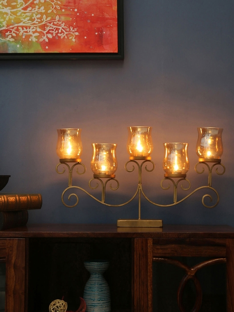 Athome by Nilkamal Gold-Toned Set of 5 Candle Holders
