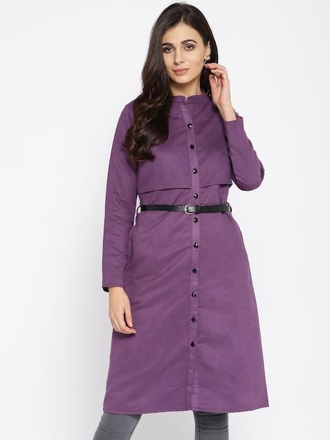 Athena Women Purple Solid Overcoat