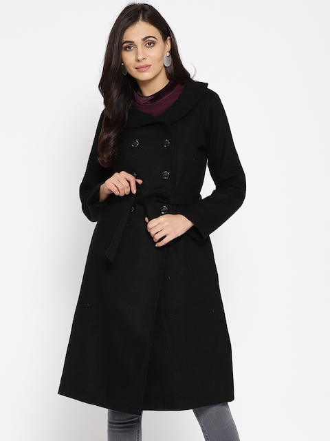 Athena Women Black Solid Longline Overcoat