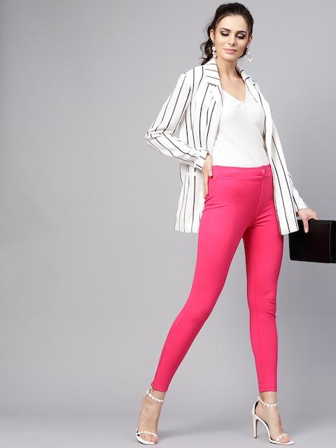 SASSAFRAS Women Pink Skinny Fit Solid Treggings