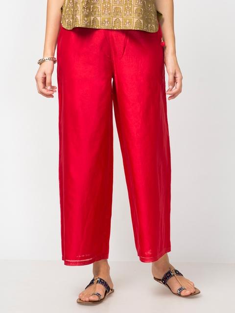 Fabindia Women Red Solid Wide Leg Palazzos