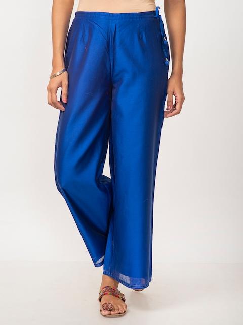 Fabindia Women Blue Solid Wide Leg Palazzos