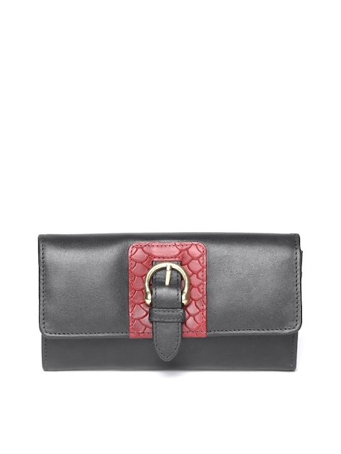 Hidesign Women Black Leather Solid Two Fold Wallet
