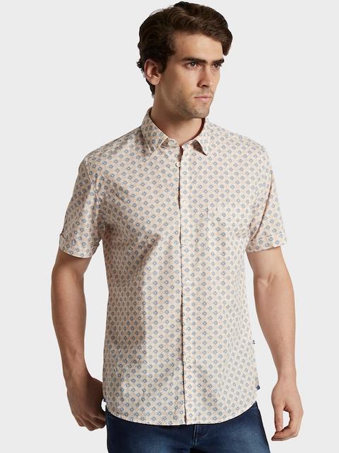 Parx Men Beige & Grey Slim Fit Printed Casual Shirt