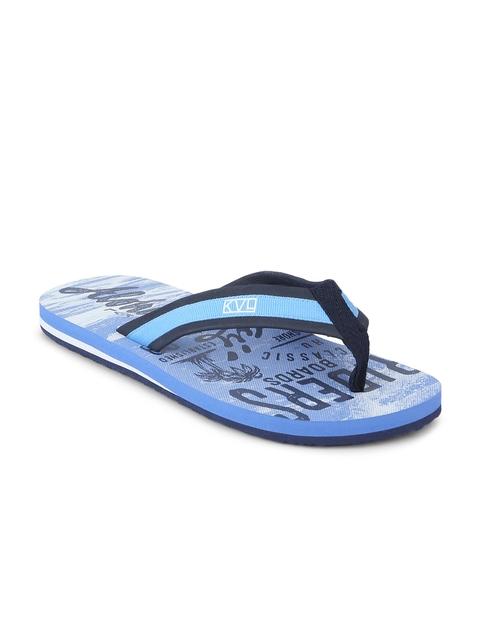 KVL Men Blue Printed Thong Flip-Flops