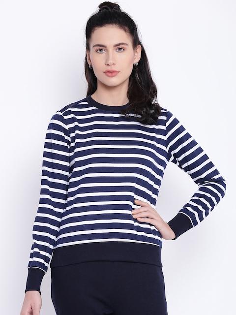 Texco Women Navy Blue & White Striped Sweatshirt
