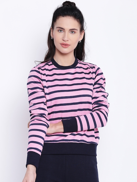 Texco Women Pink & Navy Blue Striped Sweatshirt