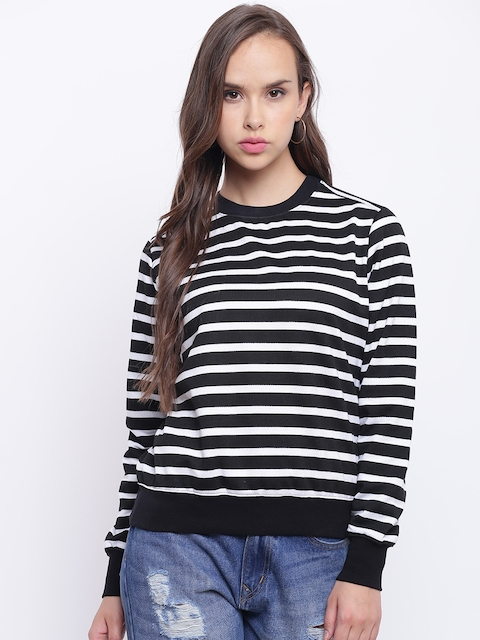Texco Women Black & White Striped Sweatshirt
