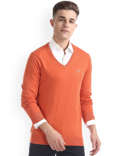 GANT Men Orange Solid Pullover
