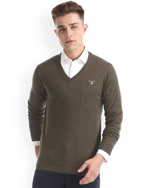 GANT Men Brown Solid Pullover