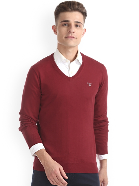 GANT Men Red Solid Pullover