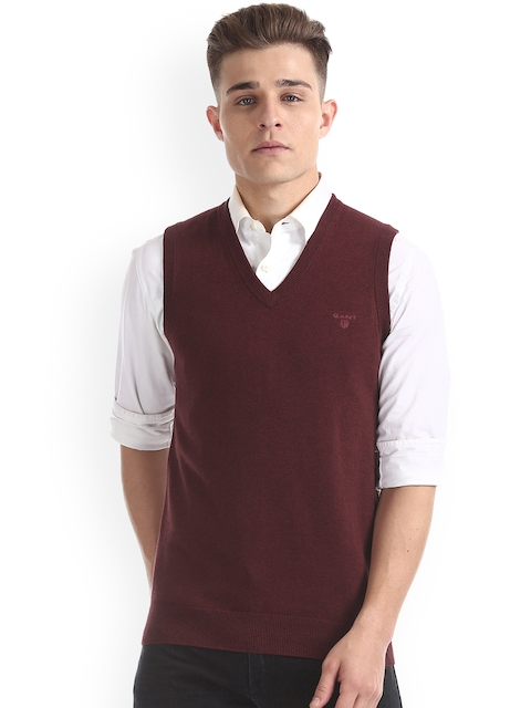 GANT Men Red Solid Sweater Vest