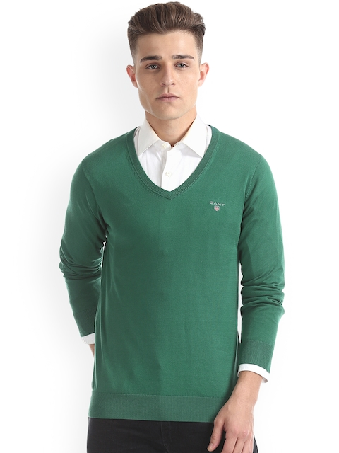 GANT Men Green Solid Pullover