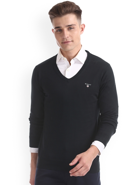 GANT Men Black Solid Pullover