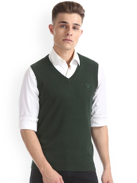 GANT Men Green Solid Sweater Vest