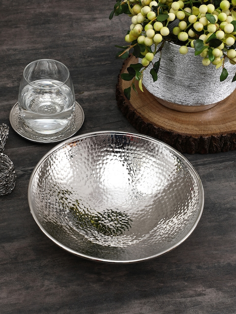 Pure Home and Living Silver Toned Small Hammered Platter