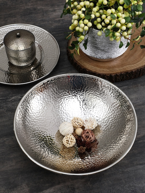 Pure Home and Living Silver-Toned Decorative Bowl