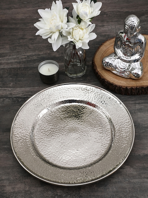 Pure Home and Living Silver-Toned Decorative Plate