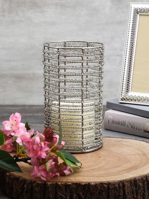 Pure Home and Living Silver-Toned Cylindrical Candle Holder