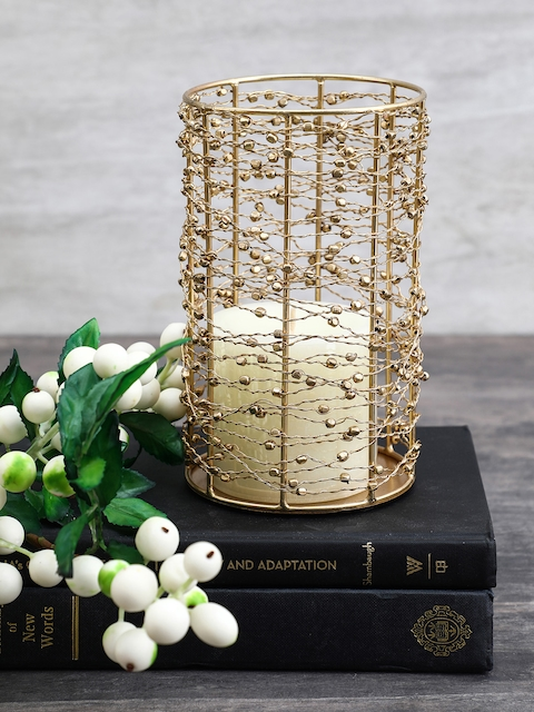 Pure Home and Living Gold-Toned Cylindrical Candle Holder