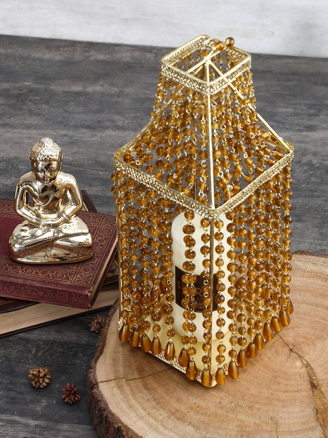 Pure Home and Living Gold-Toned Bottle-Shaped Candle Holder