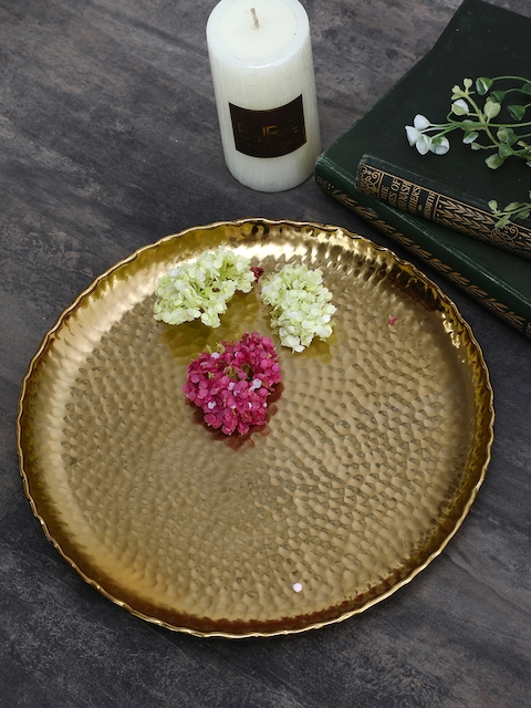 Pure Home and Living Gold Toned Medium Hammered Platter