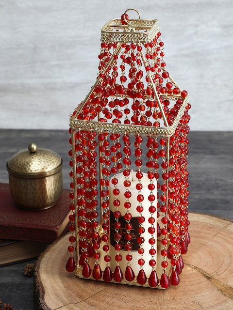 Pure Home and Living Red Bottle-Shaped Candle Holder