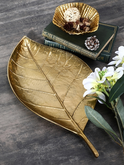 Pure Home and Living Gold-Toned Large Cherry Leaf Platter