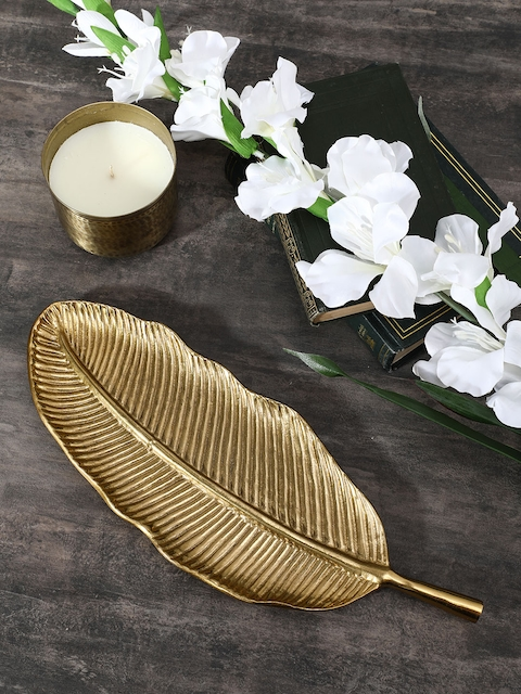 Pure Home and Living Gold-Toned Small Oblong Leaf Platter