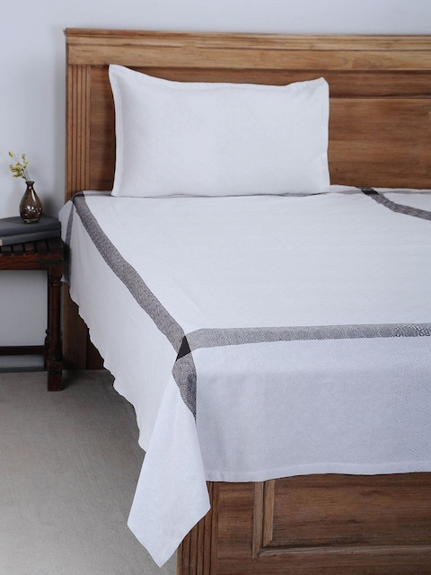 NEUDIS White Solid Cotton Single Bed Cover with Pillow Cover