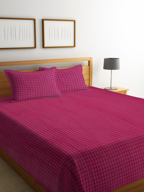 NEUDIS Pink & Blue Checked Cotton Double Bed Cover with 2 Pillow Covers