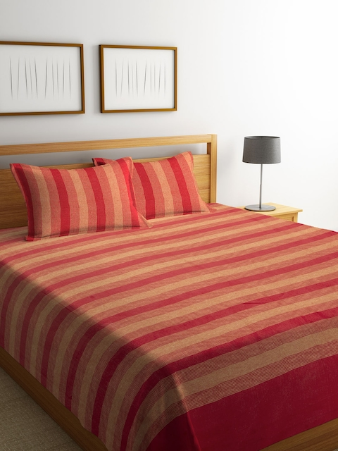 NEUDIS Red Striped 250 to 349 TC Cotton Single Bed Cover with 2 Pillow Covers