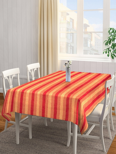 NEUDIS Red & Yellow Striped Square Table Cover
