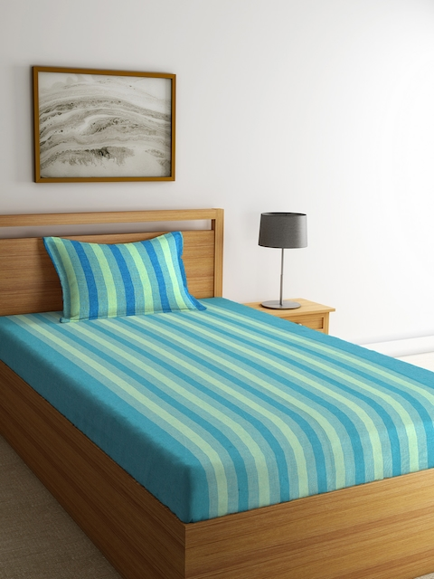 NEUDIS Green & Blue Striped Cotton Single Bed Cover with Pillow Cover
