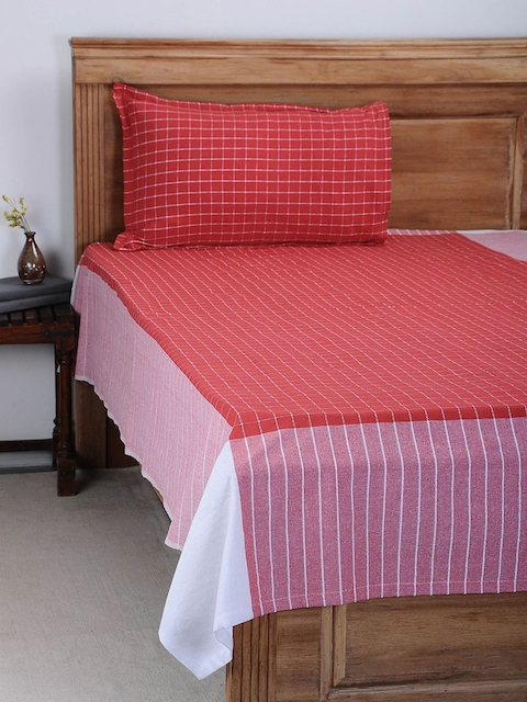 NEUDIS Red Checked Cotton Single Bedsheet with Pillow Cover