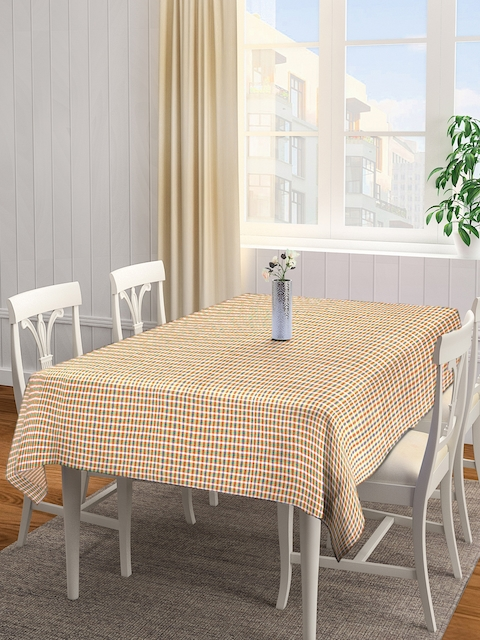 NEUDIS Yellow & Brown Checked Square Table Cover