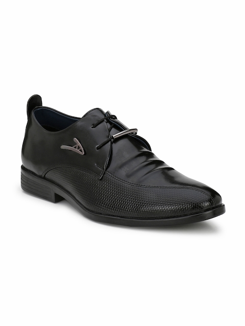 Guava Men Black Textured Formal Derbys