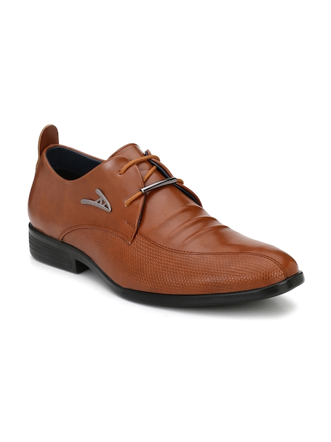 Guava Men Tan Brown Textured Formal Derbys
