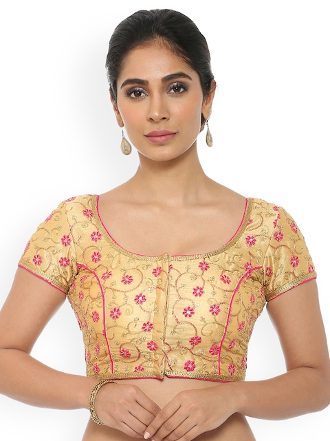 Soch Gold-Coloured Embroidered Saree Blouse