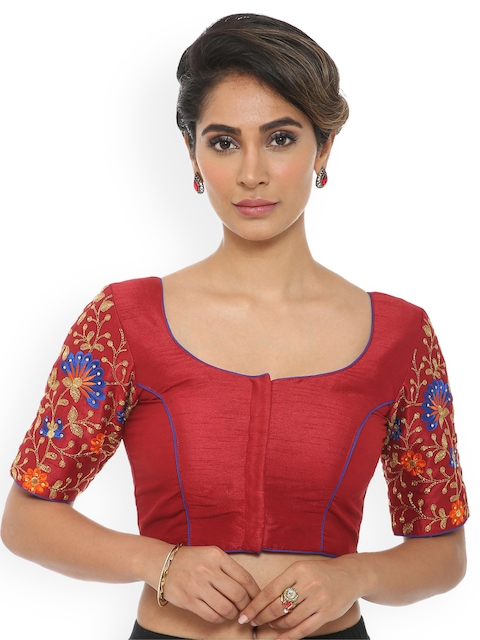 Soch Maroon Embroidered Saree Blouse